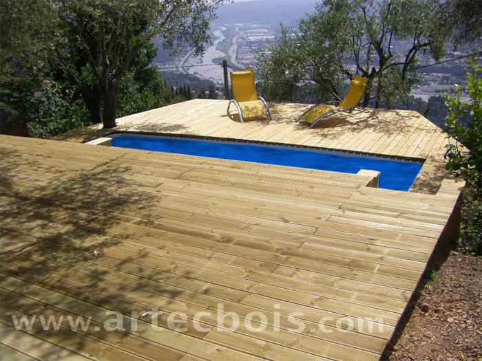 Artecbois terrasses en bois pos es platelages et for Piscine sur sol