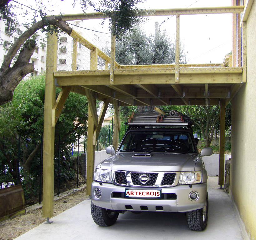 Artecbois terrasses en bois en hauteur suspendues ou sur poteaux porteurs et balcons en bois en for Construire une terrasse couverte