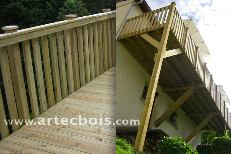 terrasse suspendue sans poteaux